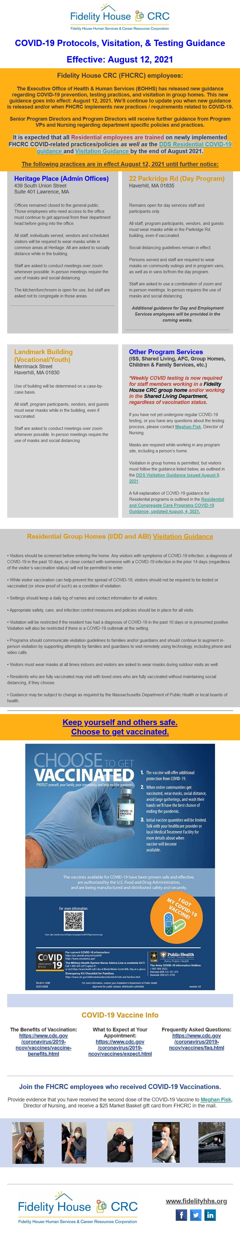 COVID Protocols, Visitation, and Testing Guidance 8/12/21